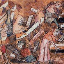 Burying plague victims in Tornai - Brussels, Bibliothèque royale de Belgique